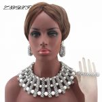 2017 New Chunky Big <b>Silver</b> African Bride Jewelry Set Nigerian Wedding Party Beads Statement Necklace Set Free Shipping HD8038