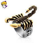 OFF-XXL Punk Vintage Scorpion Pattern Mens Ring <b>Antique</b> Silver Gold Color Round Stainless Steel Titanium Rings for Male <b>Jewelry</b>