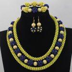 Romantic Yellow and Blue Costume African <b>Jewelry</b> Sets <b>Handmade</b> Beaded Fashion Chunky Necklace Set Free ShippingABL765