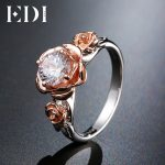 EDI Natural Topaz Rose Flower Crystal Engagement Ring Beauty And The Beast Gemstone 925 Sterling <b>Silver</b> Bands Fine <b>Jewelry</b>