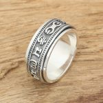 S925 <b>handmade</b> sterling silver <b>jewelry</b> wholesale factory explosion Silver Mens six words ring rotating ring