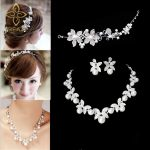 TREAZY Fashion Flower Crystal Pearl Bride 3pcs Set Necklace Earrings Tiara Bridal Wedding <b>Jewelry</b> Set <b>Accessories</b> For Women