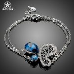AZORA White Gold Color Women Chain Bracelets Big Blue Austrian Crystal Stone Butterfly Bracelet & Bangles <b>Fashion</b> <b>Jewelry</b> TS0167
