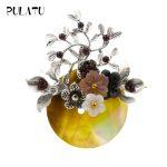 Pulatu Natural Shell Flower Brooches Women Fashion Accessories <b>Handmade</b> Flower Stone Brooch Pins Cute <b>Jewelry</b> New Year Gifts