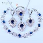 L&B Austrian Blue Crystal White Zirconia <b>Silver</b> 925 Stamp <b>Silver</b> Color <b>Bracelets</b> Jewelry Sets For Women Ring Size 6/7/8/9/10