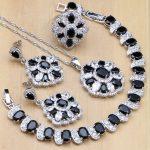 Natural Black Zircon Stones White CZ 925 <b>Silver</b> Jewelry Sets For Women Earrings/Pendant/Rings/Bracelet/<b>Necklace</b> Sets