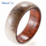 SHARDON Engagement <b>Jewelry</b> 8mm <b>Wedding</b> band Wood ring out side with real antler inlay Engagement ring for men