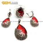 Gem-inside Semi stone (Red Glass) Drop Antiqued Tibeten <b>Silver</b> Ring <b>Earrings</b> Pendant Jewelry Set For Women Gift