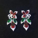 925 <b>sterling</b> <b>silver</b> with cubic zircon drop earring high quality red and green color mixed fashion women <b>jewelry</b> party earring