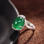 990 sterling silver rings, ladies open, inlaid with green <b>jewelry</b>, retro lotus, <b>Handmade</b> Silver Ring Gift