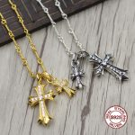 S925 Sterling <b>Silver</b> <b>Necklace</b> Personality simple wild style gold cross <b>necklace</b> pendant Classic couple style sweater chain Send