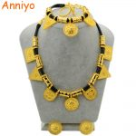 Anniyo Wholesale Eritrea Habesha Ethiopian set <b>Jewelry</b> Necklace Bracelet Earring Ring <b>Jewelry</b> Gold Color Africa Wedding #054906