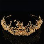 Sweet Hair Ornaments Bridal Hair Crown <b>Jewelry</b> Gold Branches Headdress Hair Hoop Crown <b>Wedding</b> Dress Accessories FN-G013