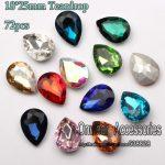72pcs 18*25mm Pear Drop Pointback Crystal Rhinestones DIY Teadrop Glass Chaton Beads For Garments <b>Jewelry</b> Making