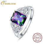 BONLAVIE 3ct Sparkling Rainbow Topaz Rings Genuine 925 <b>Sterling</b> <b>Silver</b> <b>Jewelry</b> For Wedding Party Micro Pave Finger Ring 6 7 8 9