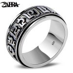 ZABRA Punk <b>Jewelry</b> For Men 925 Sterling Silver Spinner Ring Vintage Six Words Mantra Mens Signet Rings