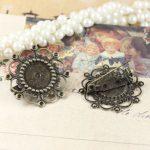50pcs/Lot 12mm fallen petals Brooches <b>Antique</b> Bronze vintage cabochon pin base blank settings diy handmade <b>jewelry</b>