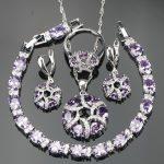 Bridal Purple AAA+ Zircon Costume <b>Silver</b> 925 Jewelry Sets <b>Bracelets</b> Pendant Earrings Rings Set Jewelery For Women Free Gift Box