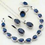 Crown Blue Rhinestone 925 Sterling Silver <b>Jewelry</b> Sets For Women Party Water Drop Bracelet/Earring/Pendant/<b>Necklace</b>/Ring