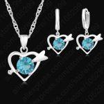 JEXXI Trendy <b>Jewelry</b> Sets For Women 925 Sterling Silver Heart Crystal Pendant Necklaces Earrings Set Bridal Wedding Jewellery