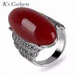 K's Gadgets Bijoux Retro Green Stone Finger Ring Big Vintage <b>Jewelry</b> <b>Antique</b> Silver Color Fashion Ladies Natural Resin Rings