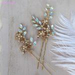 Jonnafe Pretty Opal Cystal Bridal Hair Pins Gold Flower Wedding Hair <b>Jewelry</b> Piece Women Accessories Hairpin