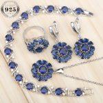 New Blue Zircon <b>Silver</b> 925 Bridal Jewelry Sets Women Earrings Rings With Stones Pendant/Necklace/<b>Bracelets</b> Jewelery Gift Box