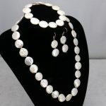 Coin shape white pearl necklace sets 11-12mm heart clasp necklace 18″bracelet 7.5″ earring 2pc/lot women fashion <b>jewelry</b> <b>making</b>