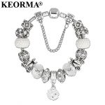 KEORMA Luxury <b>Jewelry</b> Bracelet Female <b>Antique</b> Silver Color Crystal Bead Top Quality Alloy Charm Pendant Women Bracelet Gift