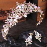 Alloy Handmade Beaded Pink Crystal Tiara Gold Wedding Crown Baroque Rhinestone Headpiece Bride Hair Accessories Earrings <b>Jewelry</b>