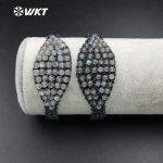 WT-B354 Wholesale Custom Precious Moon Stone Handmake Macrame Bracelet With Adjustable Price For Fashion <b>Jewelry</b> <b>Making</b>