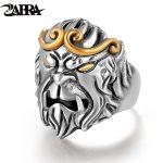 ZABRA Solid 925 <b>Silver</b> Rings Men Animal Monkey King Adjustable Vintage Punk Rock Biker Male Ring <b>Silver</b> <b>Sterling</b> <b>Silver</b> <b>Jewelry</b>