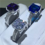 3 colors <b>Handmade</b> ring Cushion cut 4ct AAAAA Cz Stone 925 Sterling silver Engagement wedding band ring for women Finger <b>Jewelry</b>