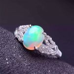 Natural opal gem stone Ring Natural gemstone ring 925 <b>sterling</b> <b>silver</b> trendy Elegant round Hollow women's girl gift <b>Jewelry</b>