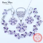 Leaf <b>Bracelets</b> Purple Jewelry Sets Big Round Cubic Zirconia CZ Stone 925 Sterling <b>Silver</b> Mark Drop Earrings Necklaces Rings