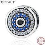 INBEAUT 925 Sterling Silver Round Blue CZ Devil Eye Black Zircon Beads fit Pandora Charm Bracelet Women Vintage <b>Jewelry</b> <b>Making</b>