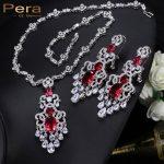 Pera Luxurious CZ Big Statement Long Dangle Dubai Women Wedding Party Gift <b>Jewelry</b> Sets With India Red Cubic Zirconia Stone J182