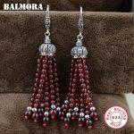 BALMORA 925 Sterling <b>Silver</b> Red Garnet Tassel Dangle Earrings for Women Mother Gift Ethnic Earrings <b>Jewelry</b> Brincos HSJ30179