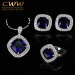 CWWZircons High Quality 925 Stamp Sterling Silver Dark Blue Austrian Crystal Women <b>Jewelry</b> Set With Cubic Zirconia T259