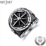 MetJakt Classic Cross Anchor Punk Ring Solid 925 <b>Sterling</b> <b>Silver</b> Ring for Personality Tide Male Vintage Thai <b>Silver</b> <b>Jewelry</b>