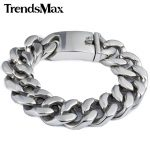 Trendsmax 19mm Polished Silver Color Cut Curb Cuban Link 316L Stainless Steel Bracelet Mens Chain Boys Wholesale <b>Jewelry</b> HB165
