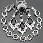Christmas Black CZ Costume Women <b>Silver</b> 925 Jewelry Sets Bridal Earrings/Rings/Pendant/Necklace/<b>Bracelets</b> Free Gift Box