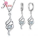 JEXXI New Stylish Crystal Spiral <b>Jewelry</b> Female Chain Pendants Necklace+Earrings <b>Jewelry</b> Set Women 925 Stering Silver Sets