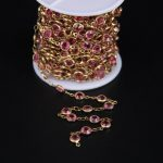 5Meters,Pink Crystal Copper Chain,Faceted Coin Glass Link Brass Tone Wire Wrapped Rosary Chain DIY <b>Necklace</b> <b>Jewelry</b>