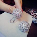Clip <b>Earrings</b> For Women S925 Sterling <b>Silver</b> Fine Jewelry Hyperbole Big Flower Round Temperament Ear Studs Luxury Brincos
