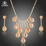 AZORA Nobleness Gold Color Cubic Zirconia Waterdrop Pendant Necklace and Earrings <b>Jewelry</b> Sets TG0150