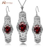 Ethiopian Jewelry Set 925 Sterling <b>Silver</b> Zircon Bijoux Cute Red Stone Crystal Wedding Accessories Party Ring For Women Female