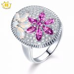 Hutang Opal Wedding Ring Natural Gemstone Pink Garnet Solid 925 <b>Sterling</b> <b>Silver</b> Fine Fashion <b>Jewelry</b> For Her's Presents Gift New