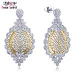 Dreamcarnival 1989 Gorgeous Bride <b>Wedding</b> <b>Jewelry</b> Accessories Drop Earrings for Women Rhodium Gold White CZ Wholesale SE20726-5B