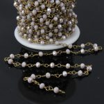 5Meter,Wire Wrapped Glass Beads Faceted Rondelle Crystal Rosary Chain,Link Chain Necklace <b>Jewelry</b> <b>Making</b> 3x4mm